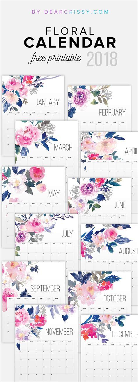 printable calendar gift free printable floral calendar 2018 pretty free desk