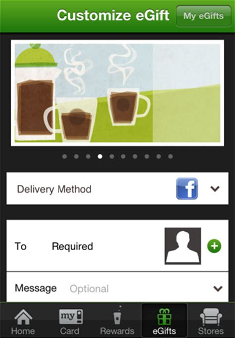 Send Starbucks Gift Card Via Facebook - starbucks for iphone updated with new look and egifts imore