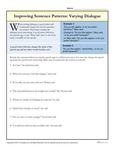 Writing Dialogue Worksheet by Sentence Patterns Varying Dialogue Writing Worksheets