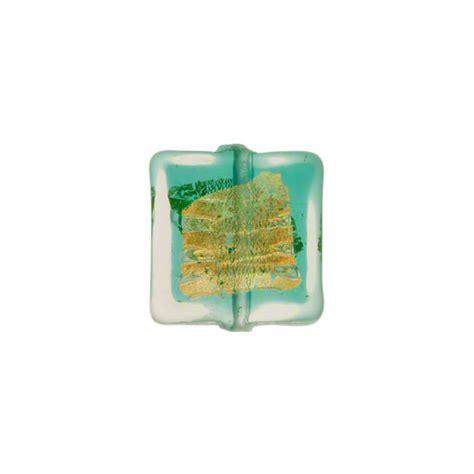 P Square Tosca murano glass bead sea foam aqua tosca square gold