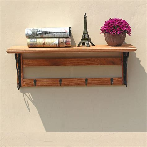 Wooden Wall Stand Vintage Wood Wall Hanger Stand 4 Metal Hooks
