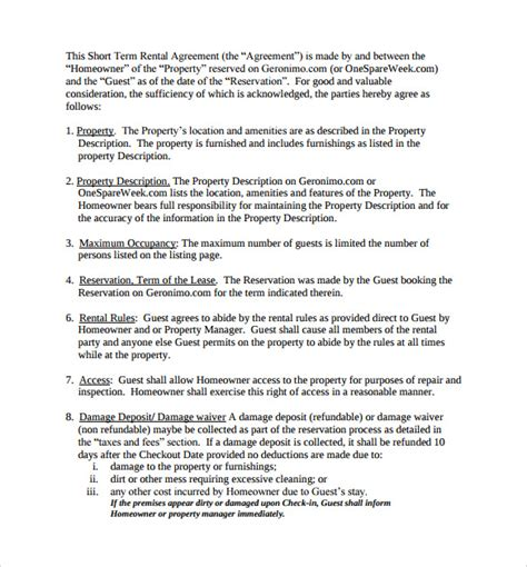 term rental agreement template sle term rental agreement 6 exle format