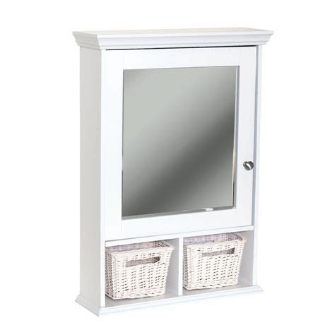 Home Depot Bathroom Mirror Cabinets Glacier Bay 21 In X 29 In Wood Surface Mount Medicine Cabinet With Baskets In White With