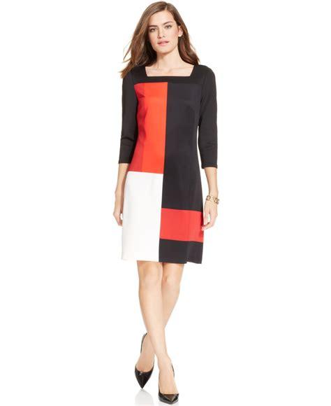 sleeve color block dress lyst eci three quarter sleeve colorblock dress