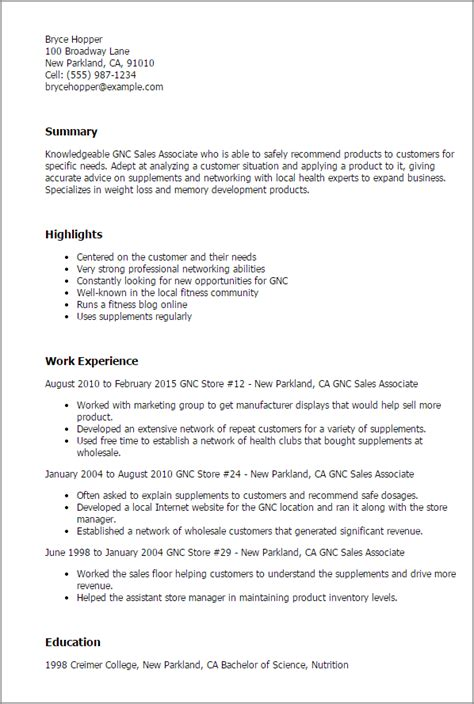 At And T Sales Associate Sle Resume by Professional Gnc Sales Associate Templates To Showcase Your Talent Myperfectresume