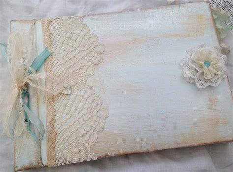 boys christening guestbook photo album blue and ivory vintage shabby chic style on luulla