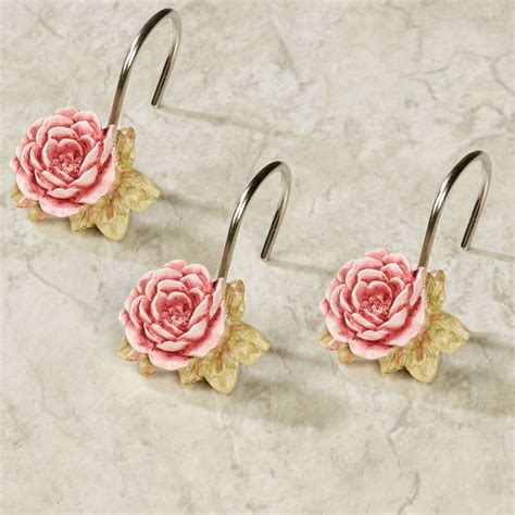 pink rose shower curtain hooks spring rose sheer floral shower curtain