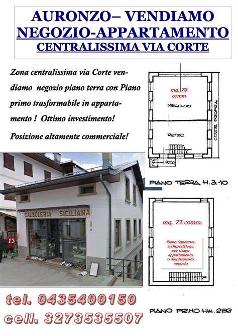 vendita immobili banche affitto vendita negozio ufficio centro auronzo di cadore