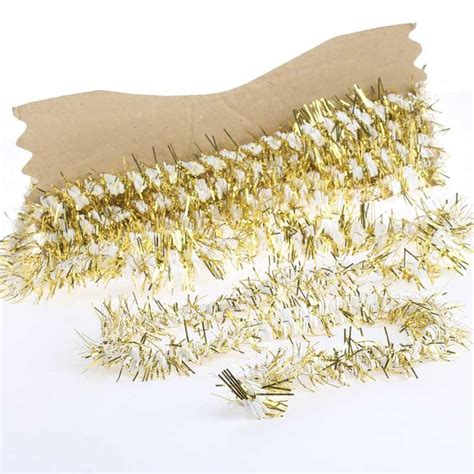 white and gold tinsel garland garlands floral supplies