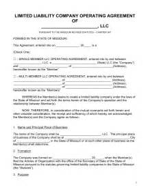 free missouri llc operating agreement forms pdf word