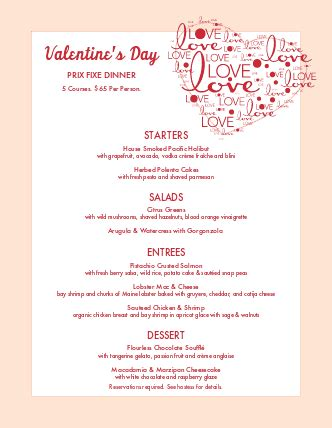 design valentine menu valentines day menu valentine s day menus