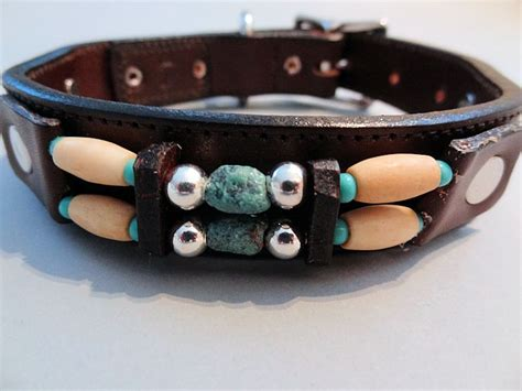 turquoise collar turquoise hair choc brown leather collars on leash