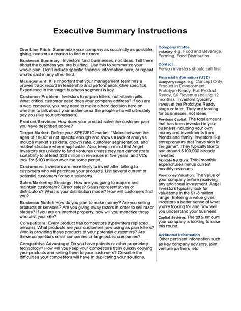 Sle Executive Summary Exle Free Download Executive Summary Feasibility Study Template
