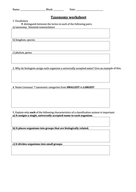 Taxonomy Classification Worksheet