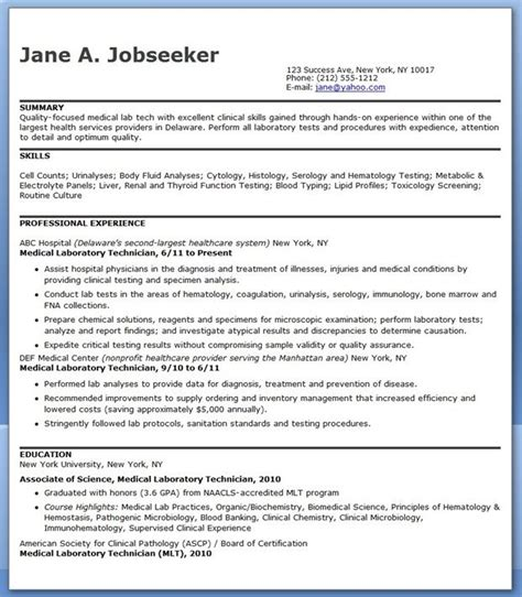 lab assistant pattern medical laboratory technician resume sle creative