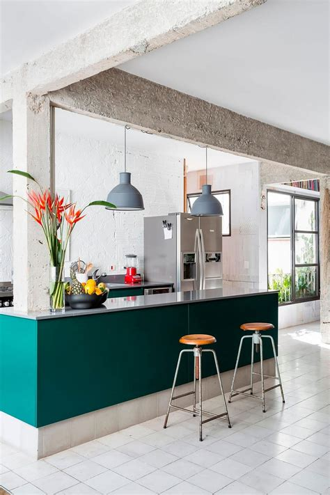 colorful kitchen islands this smart s 227 o paulo apartment intertwines greenery with