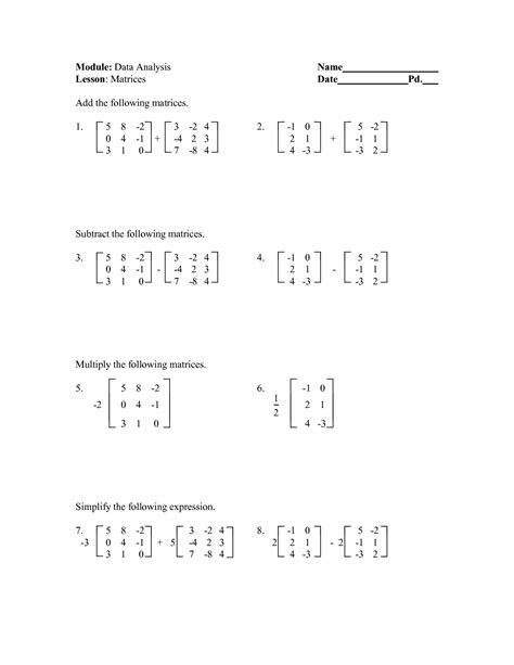 Adding And Subtracting Matrices Worksheet 16 best images of matrix algebra worksheets printable