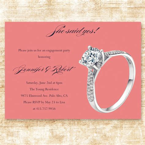 Simple Cheap Coral Ring Engagement Party Invitation Cards Ewei020 As Low As 0 94 Engagement Card Template
