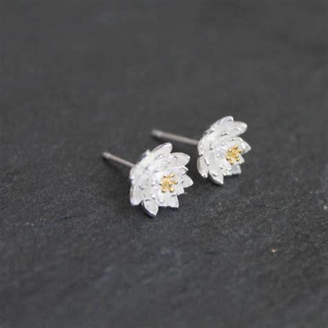 sterling silver lotus flower earrings studs by attic