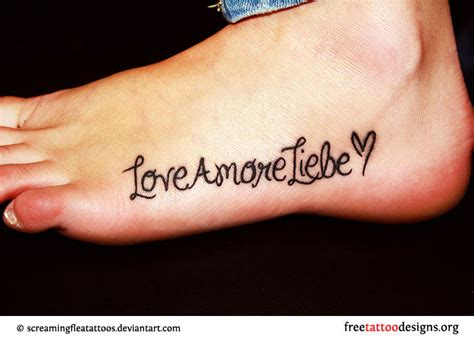 love tattoo on foot foot tattoos