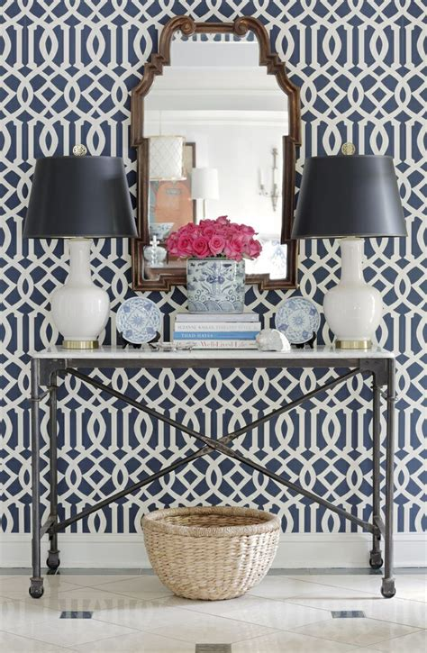 Schumacher Imperial Trellis Wallpaper schumacher wearstler imperial trellis ii ivory navy wallpaper colors ivory and interiors
