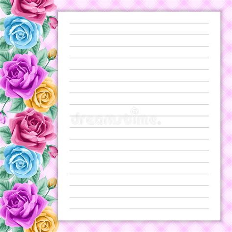diary card template retro page for notes stock vector illustration of letter