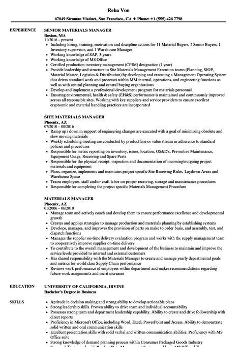 materials manager resume sles velvet