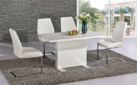 Gloss White Dining Table And Chairs White High Gloss Dining Room Table And 4 Chairs Homegenies