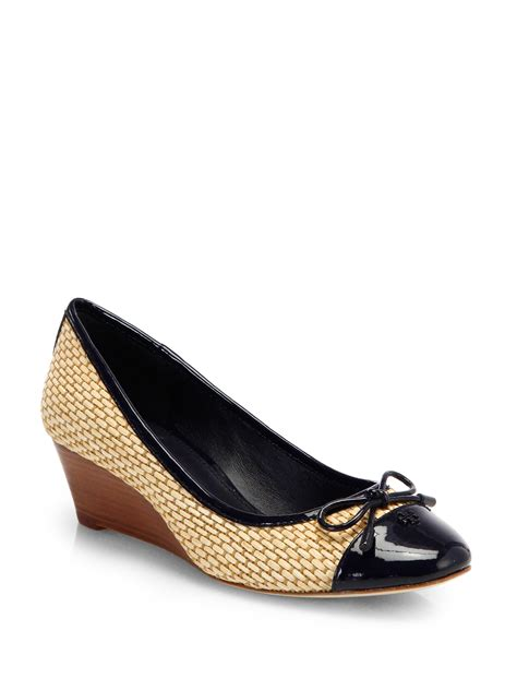 Matilda Navy Leather Stacked Heels burch catherine raffia patent leather wedge pumps in