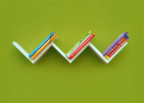 quot w quot shaped zigzag wall mount shelf home decor book shelf