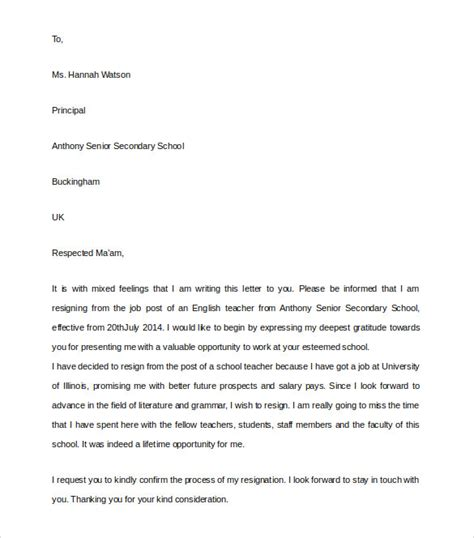 Resignation Letter Of A To The Principal Resignation Letter 8 Documents In Pdf Word