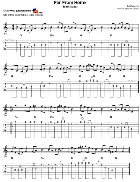 far from home sheet guitar tab guitarnick