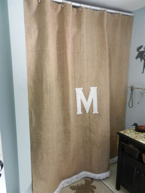 jute shower curtain burlap shower curtain with boullion fringe and your initial