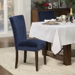 homepop ink navy plush velvet parson chairs set of 2