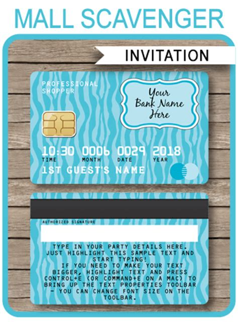 Credit Card Birthday Invitation Template Credit Card Invitations Mall Scavenger Hunt