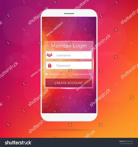 live login mobile abstract creative concept vector member login form