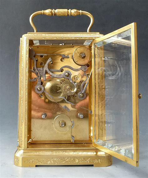 fine  piece case engraved  gilded carriage clock striking  alarm jura ca