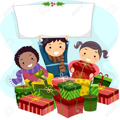 kids opening christmas presents clipart clipartxtras