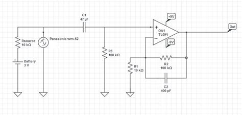 ac signal through capacitor ac lification problem coupling capacitor isn t blocking dc from electret mic using tl071