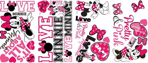 Easy Removable Wallpaper by New Disney Minnie Mouse Loves Pink Wall Decals Black White