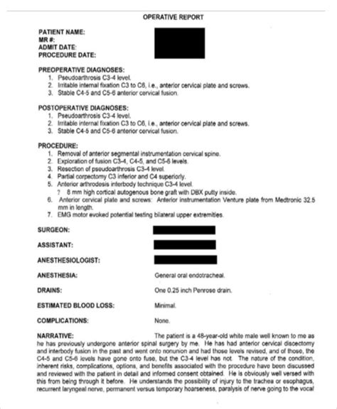 operative report template operative report templates 8 free word pdf format