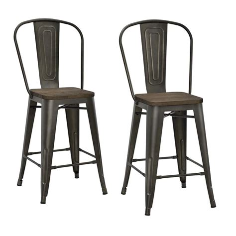 Dhp Luxor Metal Bar Stool by Dhp Luxor 24 Quot Metal Counter Stool In Antique Copper Set