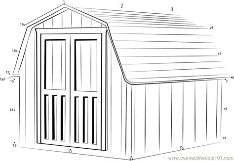 garden shed coloring page connect the dots garden shed with gambrel roof
