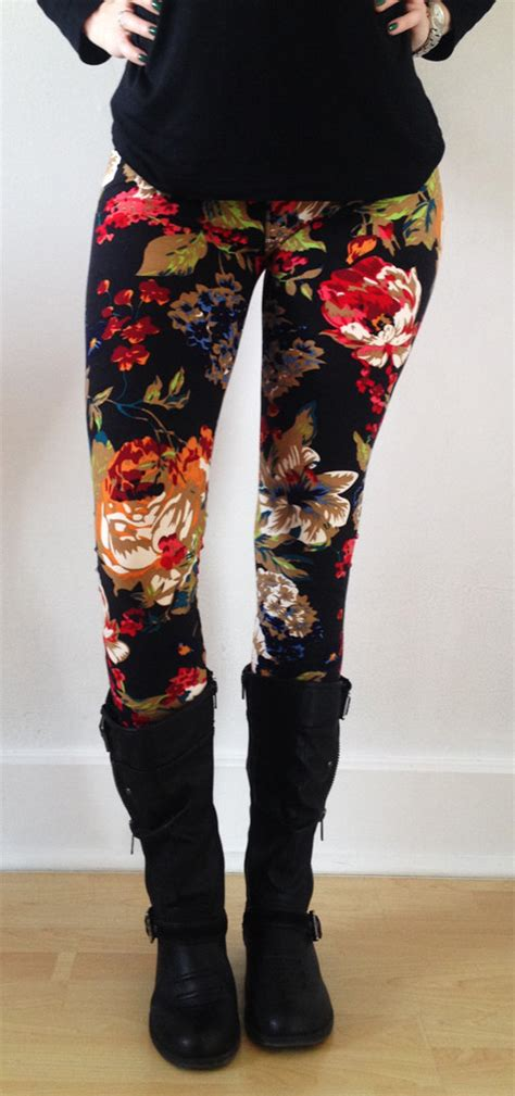 flower pattern leggings women leggings flower leggings colorful leggings by