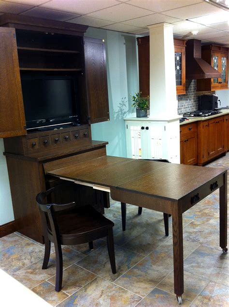 cabinet with pull out table schilling wood mode hutch cabinet after table pullout