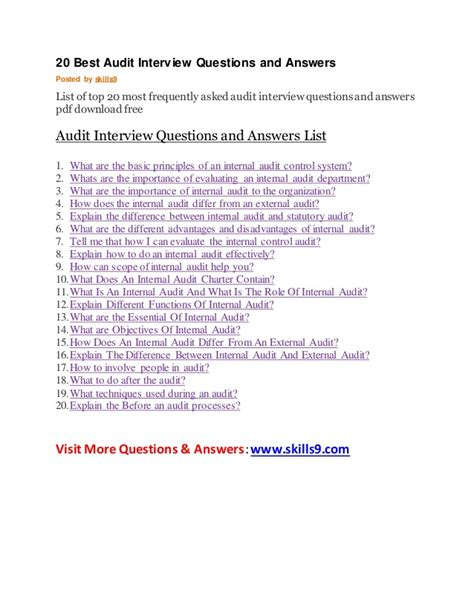 N Question List 20 Best Audit Questions And Answers