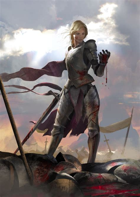 was joan of arc blonde fierce by miguelcoimbra female fighter paladin knight