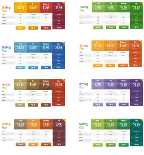 table templates pricing table plugin pro