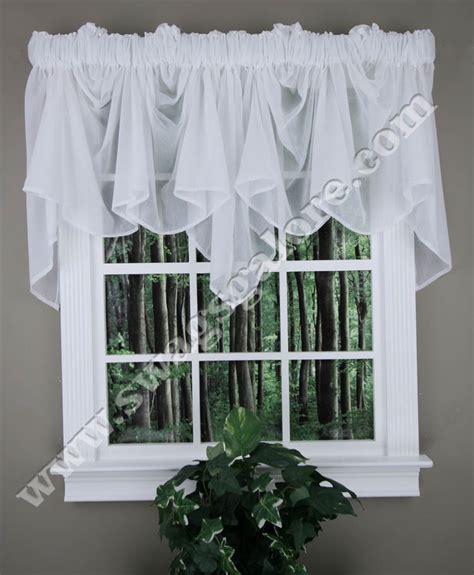 white swag curtains splendor festoon valance white stylemaster swag jabot