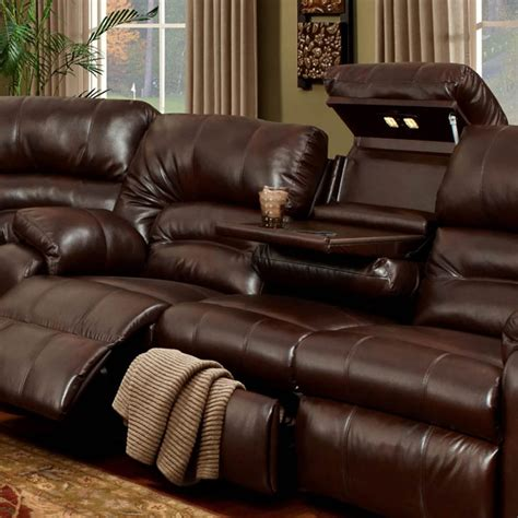 leather reclining sofa with console living room decorative reclining sofa with fold down